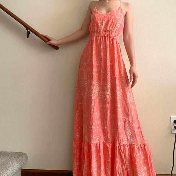 PARKER Anna Pink Open Back Maxi Dress 100% Silk